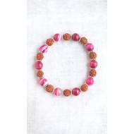 Rudraksha Yoga náramek pro štěstí ॐ Holi s růžovým achátem