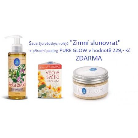 Zimní slunovrat - sada tridóša ájurvédských olejů Service-Plants ŘEKA ŽIVOTA, Věčné světlo+ přírodní peeling PURE-GLOW v hodnotě 229,-Kč ZDARMA